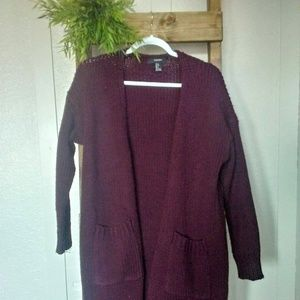 Forever 21 Maroon Open Front Cardigan with Pockets